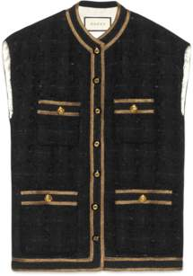 529fae4b60dc9 Gucci Houndstooth sleeveless vest with ribbon trim