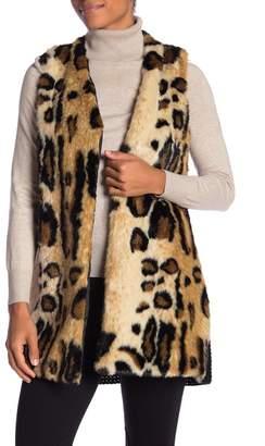 Joseph A Faux Fur Leopard-Print Vest