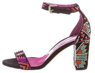 Brian Atwood Suede Embellished Sandals