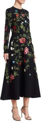 Oscar de la Renta Long Sleeve Floral Embroidered Dress