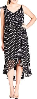 City Chic Dot Asymmetrical Wrap Dress