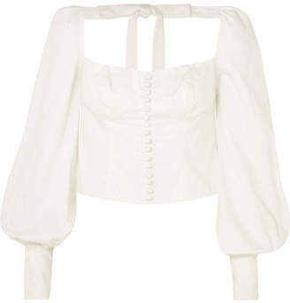Orseund Iris - Victorian Button-embellished Pima Cotton-sateen Blouse - Cream