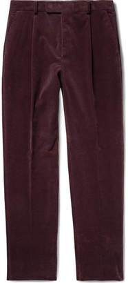 Wacko Maria Tapered Pleated Cotton And Cashmere-Blend Corduroy Trousers