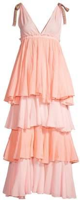 Pitusa Alma Empire-Waist Tiered Dress