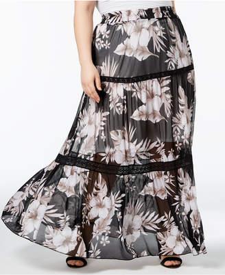 John Paul Richard Plus Size Lace-Inset Maxi Skirt