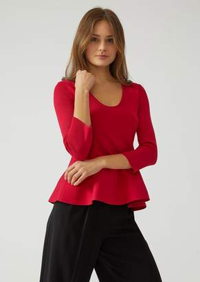 Emporio Armani Knit Top With Flounce Hem