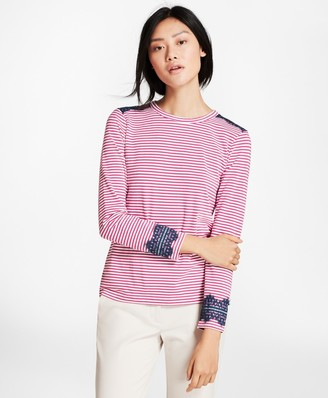 Brooks Brothers Lace-Trimmed Striped Long-Sleeve T-Shirt