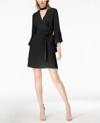 Bar III Choker Bell-Sleeve Wrap Dress