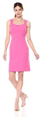 Kasper Women's Solid Stretch Crepe Sqaure Dress