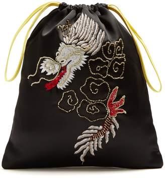 ATTICO Dragon-embroidered satin pouch