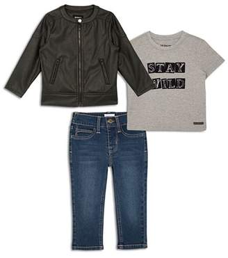 Hudson Boys' Faux Leather Biker Jacket, Stay Wild Graphic Tee & Jeans Set - Little Kid