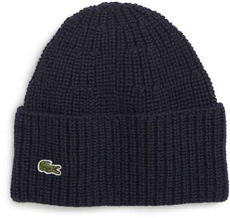 Lacoste Ribbed Wool Beanie