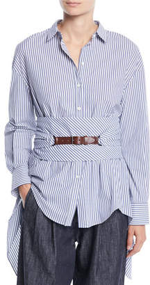 Brunello Cucinelli Button-Down Striped Cotton Poplin Blouse with Wrap Belt