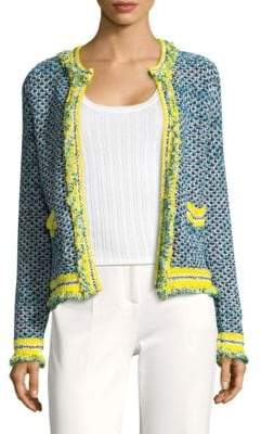 M Missoni Frayed Tweed Open Front Cardigan