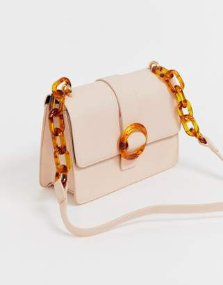 Pieces Cilla tortoise shell buckle cross body bag