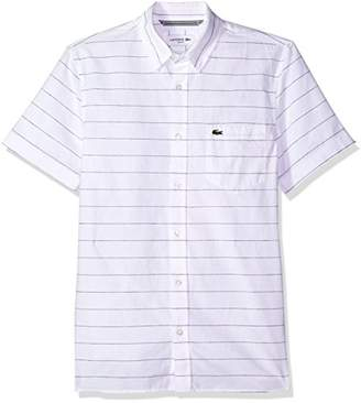 Lacoste Men's Short Sleeve Striped Button Down Collar Slim Woven Shirt