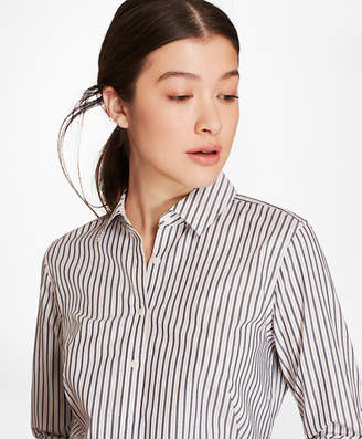 Brooks Brothers Petite Striped Cotton Dobby Fitted Shirt