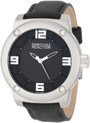 Kenneth Cole Reaction Unisex RK1312 Street Silver Case Leather Strap Analog Watch