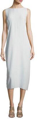 Eileen Fisher Sleeveless Bateau-Neck Silk Crepe Midi Dress $378 thestylecure.com