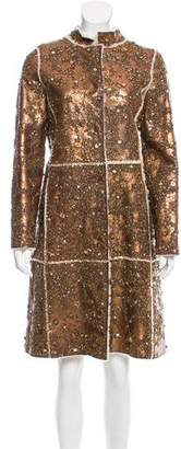 Oscar de la Renta Embellished Shearling Coat w/ Tags