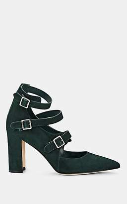 Manolo Blahnik Women's Bukhai Suede Mary Jane Pumps - Green Suede