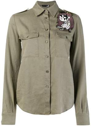 Love Moschino embroidered patch shirt