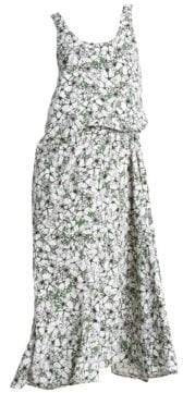 Cédric Charlier Sleeveless Floral Blouson Midi Dress