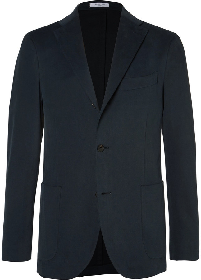 Boglioli Boglioli Blue Slim-Fit Brushed Stretch-Cotton Twill Suit Jacket