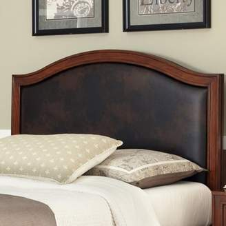 Home Styles Duet Queen Camelback Headboard with Brown Leather Inset, Rustic Cherry