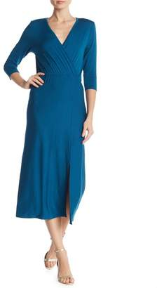 Loveappella Long Sleeve Wrap Dress With Slit