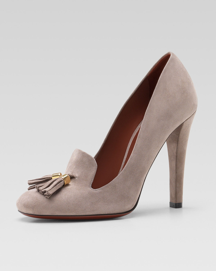 Gucci Suede Tassel Loafer Pump