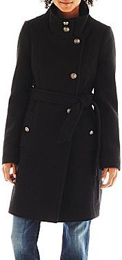 JCPenney Collezione Belted Tweed Coat