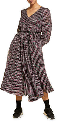 Marina Rinaldi Plus Size Small-Print V-Neck Long-Sleeve Dress