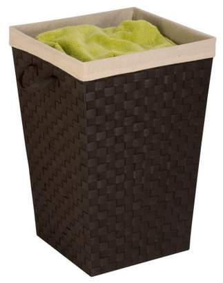 Honey-Can-Do Woven Strap Hamper with Liner and Steel Frame, Espresso Black