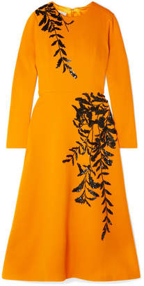 Oscar de la Renta Embellished Wool-blend Midi Dress - Saffron