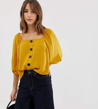 New Look herringbone blouse in mustard