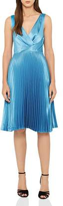 Reiss Alicia Pleated Satin Dress