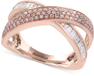 Effy Pave Rose by Diamond Crisscross Ring (5/8 ct. t.w.) in 14k Rose Gold