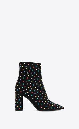 Saint Laurent Betty 95 Ankle Boots In Black Suede And Multicolored Crystals