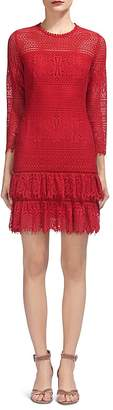 Whistles Marylou Ruffled-Hem Lace Dress