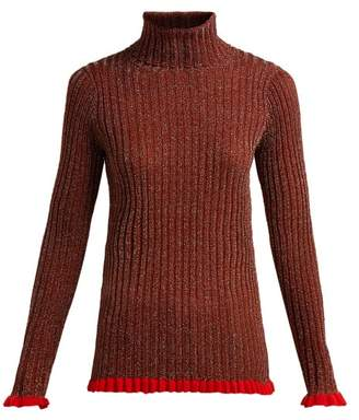 Chloé - Ruffle Trimmed Silk Blend Sweater - Womens - Dark Red