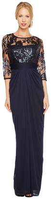 Adrianna Papell Embroidered Sequin Bodice Drape Gown Women's Dress