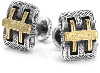 Konstantino Sterling Silver and 18K Yellow Gold Engraved Cufflinks