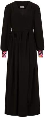 New Look CoCo VeVe Lilody Maxi Wrap In Black With Geranium Print Cuff