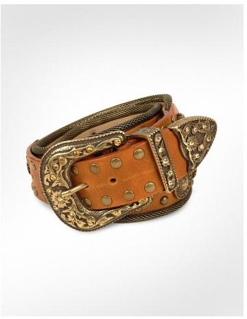 Brambilla Embellished Brown Genuine Leather Mesh Western-style Belt