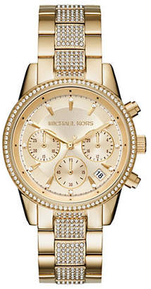 Michael Kors Chronograph Ritz Stainless Steel Gold-Tone Bracelet Watch