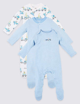 Marks and Spencer 3 Pack Organic Cotton Transport Sleepsuits