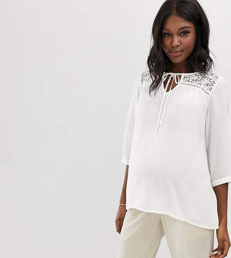 Mama Licious Mama.Licious Mamalicious maternity lace detail textured top