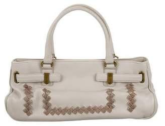 Bottega Veneta Snakeskin-Trimmed Handle Bag