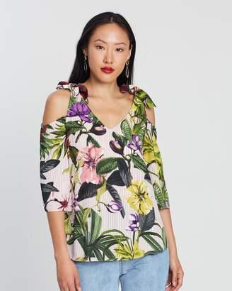 Dorothy Perkins Stripe Floral Print Cold Shoulder Top